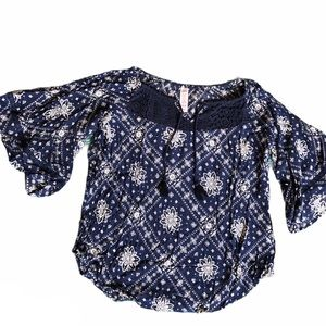 Justice Girls Top Size 14/16 Navy Blue